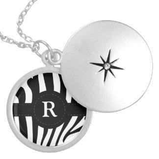 Zebra stripes monogram initial R custom Round Locket Necklace