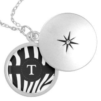 Zebra stripes monogram initial T custom Round Locket Necklace