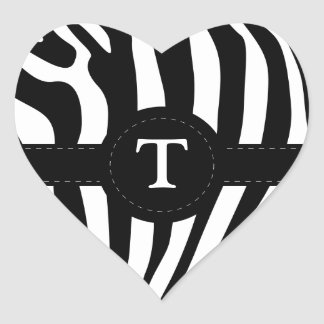 Zebra stripes monogram initial T custom Heart Stickers
