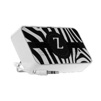 Zebra stripes monogram initial Z custom gift Travel Speakers