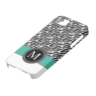 Zebra Stripes Monogram Turquoise iPhone 5 Case