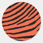 ZEBRA STRIPES: ORANGE and BLACK Round Stickers