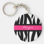 Zebra Stripes Pattern Personalised Name Keychain