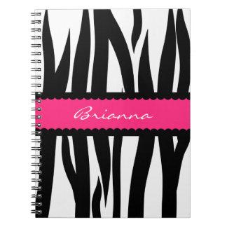 Zebra Stripes Pattern Personalized Name Notebook