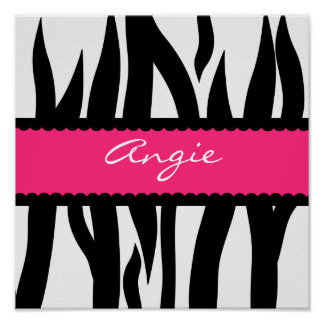 Zebra Stripes Pattern Personalized Name Poster