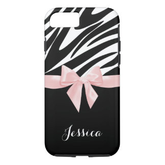 Zebra Stripes Pink Bow with Name iPhone 7 Case