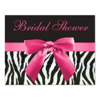 Zebra Stripes & Pink Printed Bow Bridal Shower Card