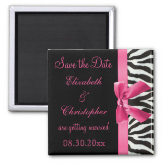 Zebra Stripes & Pink Printed Bow Save The Date Magnet