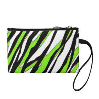 Zebra Stripes with Abstract Lime Green Stripes Coin Purse