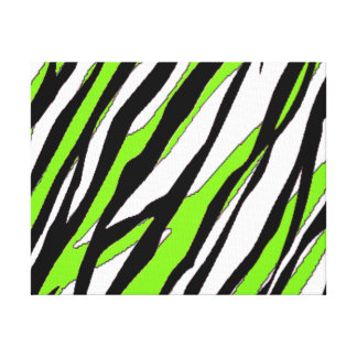 Zebra Stripes with Abstract Lime Green Stripes Canvas Print