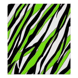Zebra Stripes with Abstract Lime Green Stripes Poster