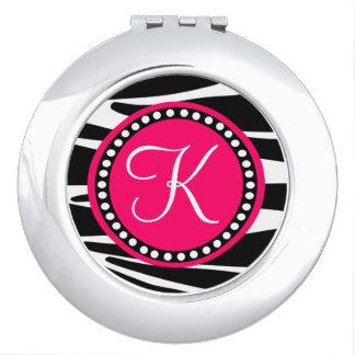 Zebra Stripes With Hot Pink Circle Monogram Area Makeup Mirrors