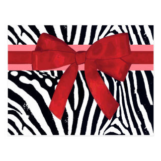 Zebra Stripes with Red Ribbon and bow Pattern Postcard