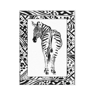 Zebra study in African style framed border. Canvas Print