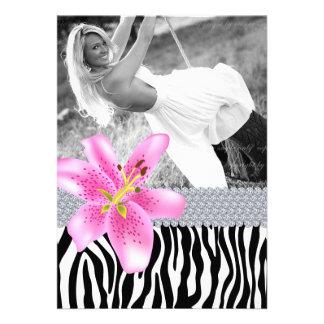 Zebra Sweet 16 Birthday Party Pink Lily Flower Custom Invitation