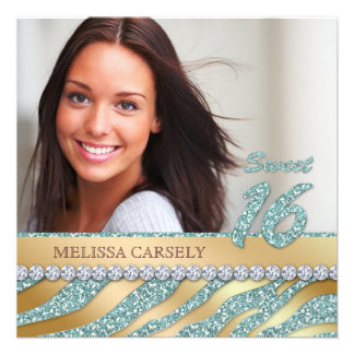 Zebra Sweet 16 Party Invite Teal Gold Jewelry