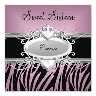 Zebra Sweet Sixteen 16 Party Silver Pink Black 13 Cm X 13 Cm Square Invitation Card