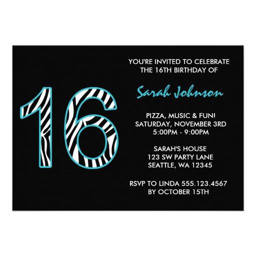 Zebra Teal and Black Sweet 16 Birthday Invitation Custom Announcement