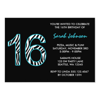 Zebra Teal and Black Sweet 16 Birthday Invitation