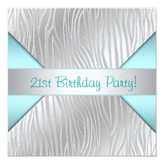 Zebra Teal Blue 21st Birthday Party Card
