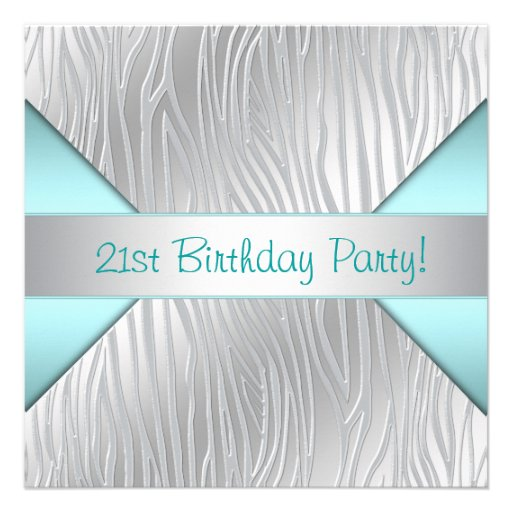 Zebra Teal Blue 21st Birthday Party Invites