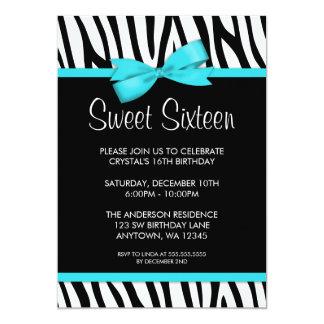 Zebra Teal Blue Printed Bow Sweet 16 Birthday 13 Cm X 18 Cm Invitation Card