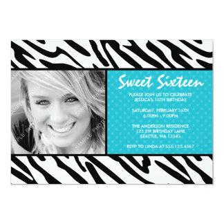 Zebra Teal Polka Dot Sweet 16 Photo Invitation