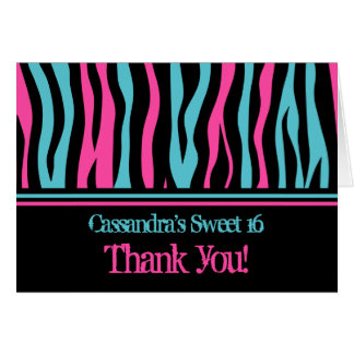 Zebra thank you | Sweet 16 birthday Card