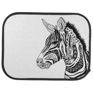 Zebra tribal tattoo themed art car mat