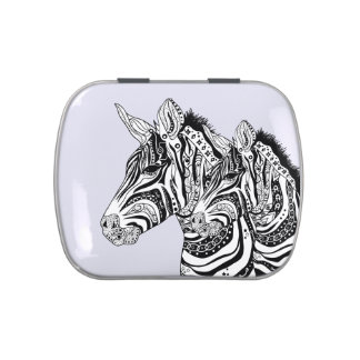 Zebra tribal tattoo themed art jelly belly tins