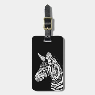 Zebra tribal tattoo themed art luggage tag