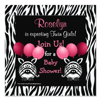 Zebra Twin Girls Baby Shower Invitation Pink