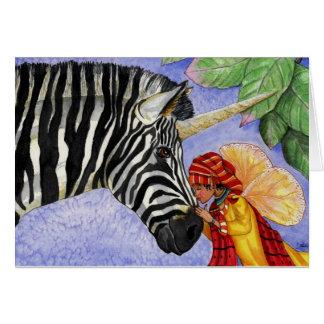 Zebra unicorn and ZiZi fairy card. Card