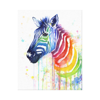 Zebra Watercolor Rainbow Art Painting Canvas Print