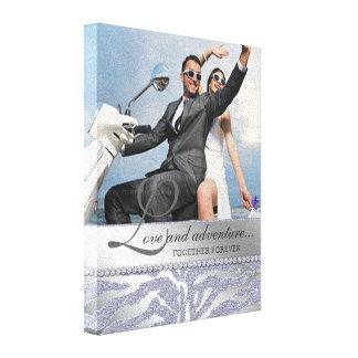 Zebra Wedding Engagement Photo Canvas Silver