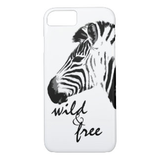 zebra wild and free text black and white iPhone 7 case