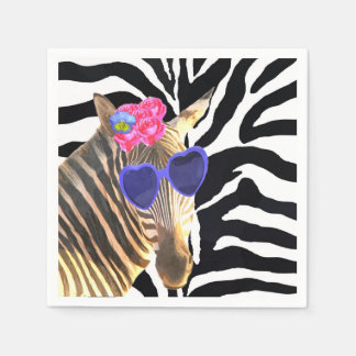 Zebra wild jungle cute animal fashion glamour paper napkin