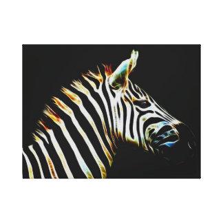 Zebra with black and white stripes canvas prints