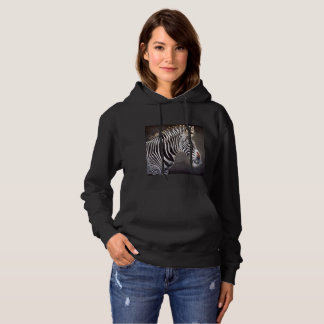 Zebra Women's Basic Black Pull Over Hoodie