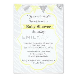 zebra yellow grey baby shower invitation