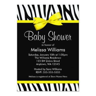 Zebra Yellow Printed Bow Baby Shower Invitations