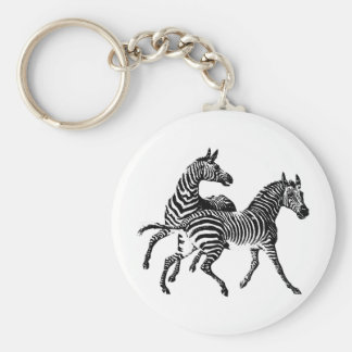 Zebra Zebras Vintage Victorian Wood Cut Art Basic Round Button Key Ring