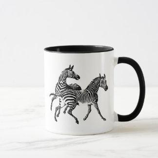Zebra Zebras Vintage Victorian Wood Cut Art Mug