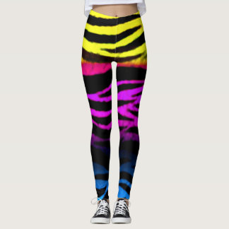 Zebra Zen Rainbow Grunge Stripes Leggings