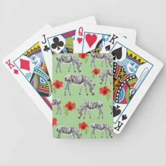 Zebras Among Hibiscus Flowers Bicycle Playing Cards