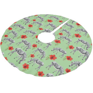 Zebras Among Hibiscus Flowers Brushed Polyester Tree Skirt