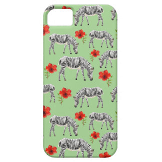Zebras Among Hibiscus Flowers iPhone 5 Cover