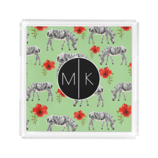 Zebras Among Hibiscus Flowers | Monogram