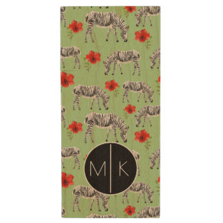 Zebras Among Hibiscus Flowers | Monogram Wood USB 2.0 Flash Drive