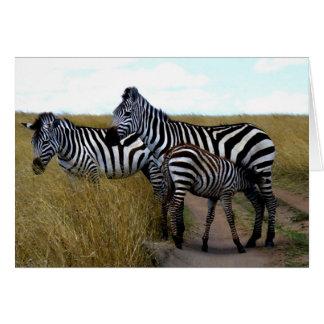 ZEBRAS AND BABY ZEBRA GREETING CARD